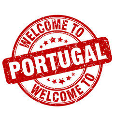 Welcome to portugal red round vintage stamp vector