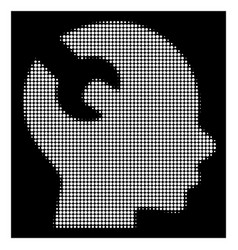 White halftone brain wrench tool icon vector