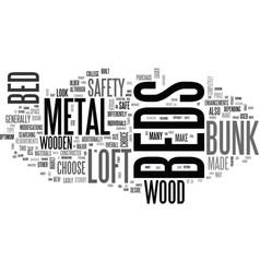 Wood vs metal loft beds bunk beds text word cloud vector