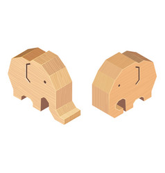 Wooden handcraft elephant on white background vector