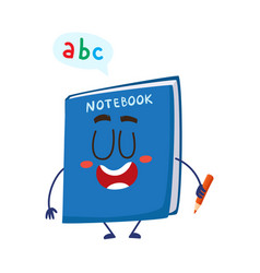 cute and funny smiling school notebook notepad vector image
