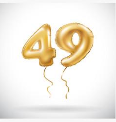 Golden number 49 forty nine metallic balloon vector