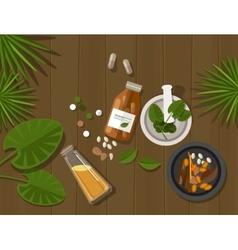 Herbal natural medication health nature healing vector
