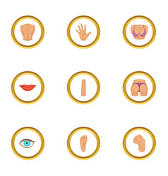 human body icons set cartoon style vector image vector image