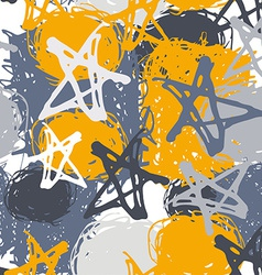 Seamless pattern with stars and spot Sketch Gray vector image
