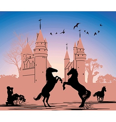 Two horses stand on their hind legs against the vector image vector image