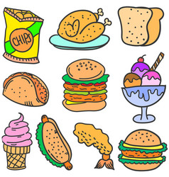 doodle of food and drink various vector image