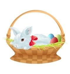 Easter bunny in wicker basket Cute easter bunny vector image