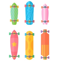 Flat longboards collection with colorful patterns vector image