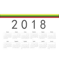 Lithuanian 2018 year calendar vector