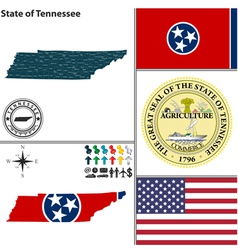 Map of Tennessee with seal vector image vector image