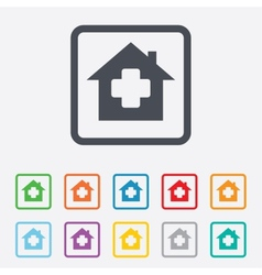 Medical hospital sign icon Home medicine symbol vector image