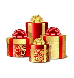 Red and gold gift boxes vector image