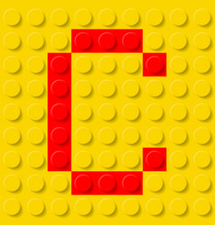 red letter c in yellow plastic construction kit vector image