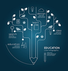 Flat linear Infographic Education Pencil Tree vector image