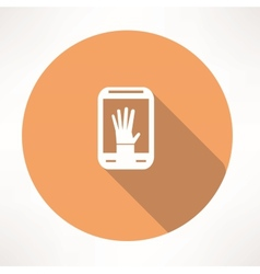 hand in smartphone icon vector image vector image