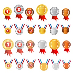 Medals Set Gold Silver Bronze First Second Third vector image vector image