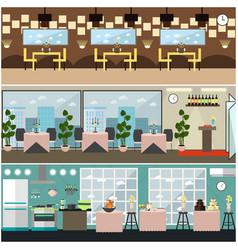 restaurant interior set in flat style vector image