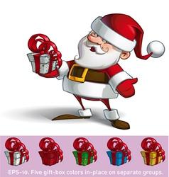 Smilling Santa Holding a Present vector image