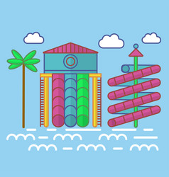 swimming pool with waterslides for children vector image vector image