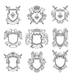 template of heraldic emblems for different design vector image vector image