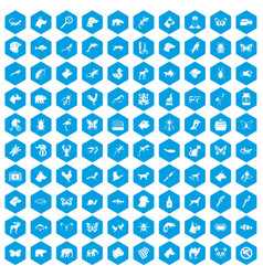100 animals icons set blue vector image vector image