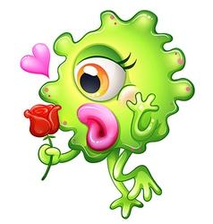 A female monster holding rose vector