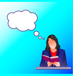A woman is thinking and reading a book vector