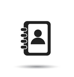 Address book icon contact note flat on white vector