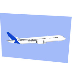 Airbus a350 jet plane in blue sky vector