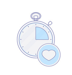alarm clock heart hour minute time timer icon vector image