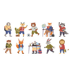 animals students funny collection in cartoon vector image