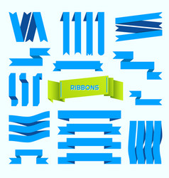 Blue ribbons set retro styled ribbons vector