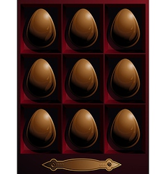 Box with chocolate Easter eggs vector
