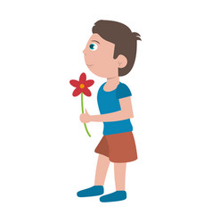 Boy with flower present vector