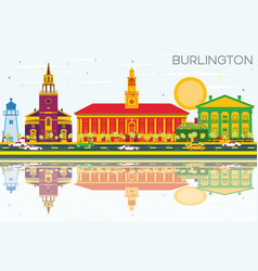 burlington skyline with color buildings blue sky vector image