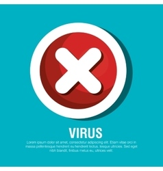 button virus protection error isolated vector image