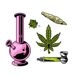 Cannabis smoking set vector
