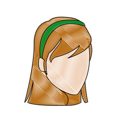 Cartoon face young girl student vector