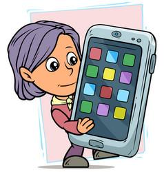 cartoon girl character with funny big smartphone vector image
