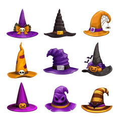 cartoon witch hats colorful icons set wizard hat vector image