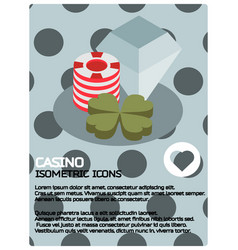 casino color isometric poster vector image