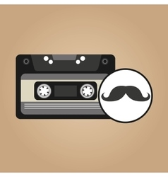 cassette vintage mustache style hipster vector image