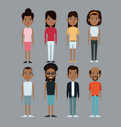 Character group man and woman afro american vector
