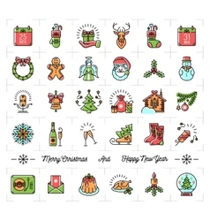 Christmas icons set New Year symbols Winter vector image