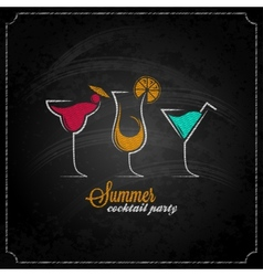 Cocktail summer party chalk design menu background vector