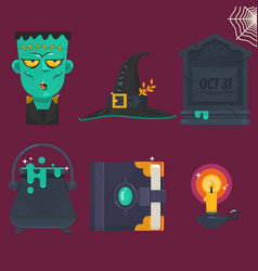 collection halloween icon set vector image