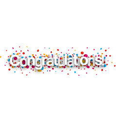 Congratulations paper banner with confetti vector