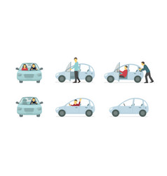 Couple of people in the car set of situations vector