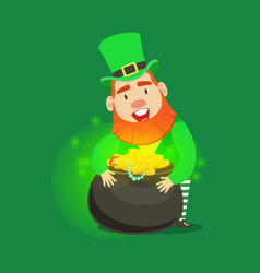 cute cartoon dwarf leprechaun with pot of gold vector image
